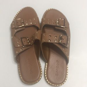 Bamboo double buckled footbed sandals
